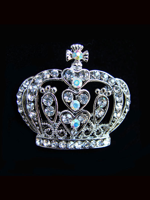 Jim Ball Jewelry Jim Ball BR025 Crystal Crown Brooch Image