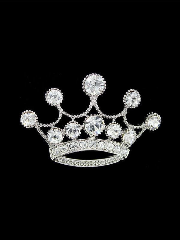 Jim Ball Jewelry Jim Ball BR041 Crystal Crown Brooch Image