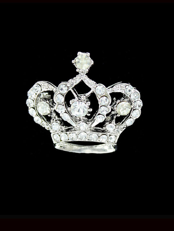 Jim Ball Jewelry Jim Ball BR092 Crystal Crown Brooch Image