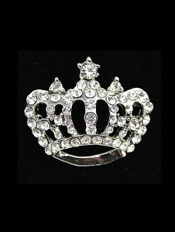 Jim Ball Jewelry Jim Ball BR094 Crystal Crown Brooch Image